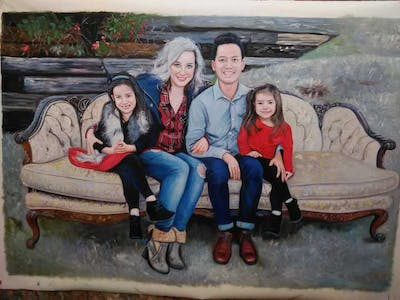 A painting of people, photograph, social group, sitting, family, fun, winter, tree, girl, sibling
