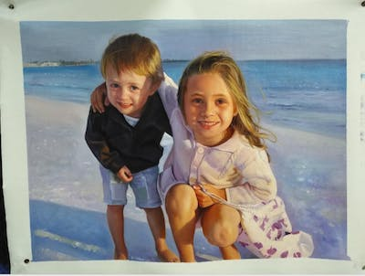 A painting of body of water, vacation, beach, fun, child, sea, summer, smile, girl, happiness