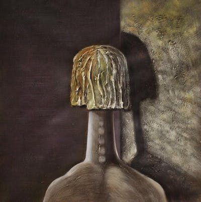 A painting of head, sculpture, tree, art