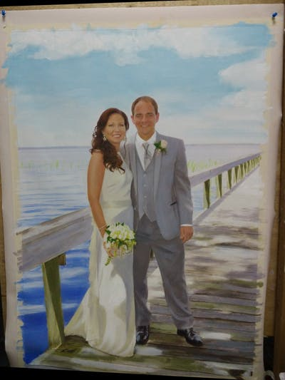 A painting of gown, wedding dress, photograph, bride, bridal clothing, wedding, dress, suit, formal wear, groom