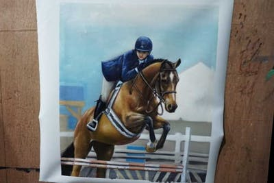A painting of horse, bridle, hunt seat, rein, english riding, equestrianism, equestrian, horse tack, equitation, animal sports