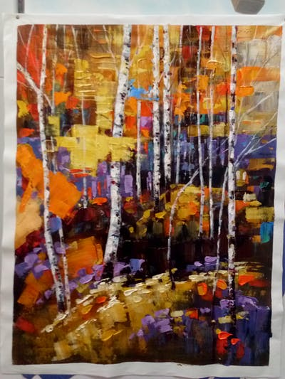 A painting of painting, reflection, art, tree, modern art, acrylic paint, plant, paint, collage, city