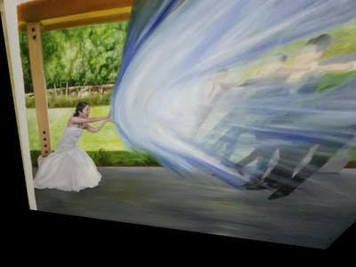 A painting of blue, photograph, woman, pink, dress, bride, ceremony, gown, fun, bridal clothing