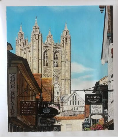 A painting of building, landmark, medieval architecture, cathedral, spire, place of worship, steeple, city, gothic architecture, church