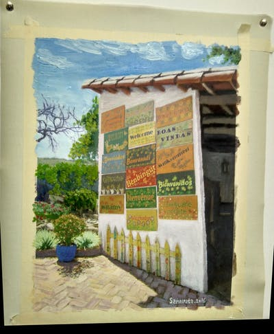 A painting of real estate, outdoor structure, facade, tourism, house