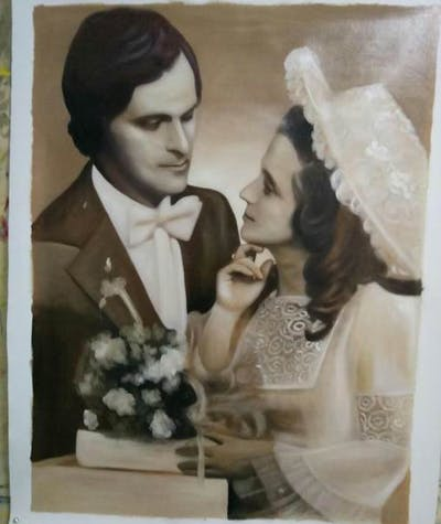 A painting of photograph, woman, lady, hair accessory, headpiece, bridal clothing, bride, fashion accessory, vintage clothing, wedding dress