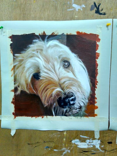 A painting of dog, dog breed, dog like mammal, sapsali, terrier, snout, catalan sheepdog, dog breed group, goldendoodle, sporting lucas terrier