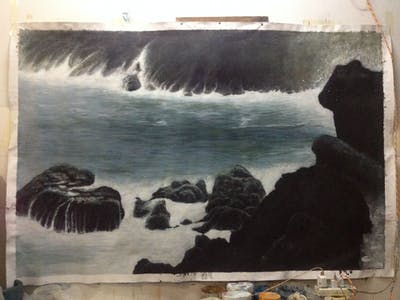 A painting of body of water, sea, coast, ocean, wave, rock, shore, water, coastal and oceanic landforms, headland