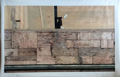 A painting of wall, wood, texture, brick