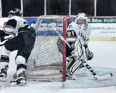 A painting of college ice hockey, ice hockey position, hockey protective equipment, hockey, ice hockey, sport venue, goaltender, protective gear in sports, team sport, player