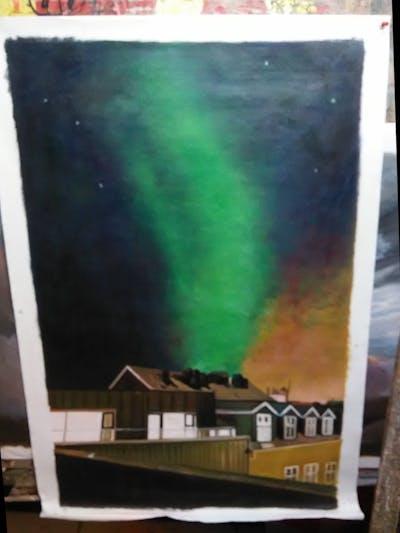 A painting of sky, atmosphere, aurora, night, phenomenon, cloud, evening, midnight