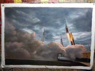 A painting of sky, cloud, atmosphere of earth, atmosphere, smoke, cumulus, meteorological phenomenon, energy, evening