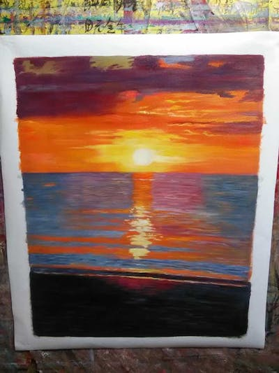 A painting of horizon, sea, afterglow, sky, sunset, sunrise, sun, ocean, red sky at morning, calm