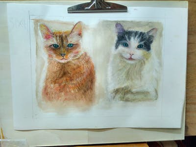 A painting of cat, whiskers, small to medium sized cats, cat like mammal, domestic short haired cat, fur, snout, aegean cat, kitten, domestic long haired cat