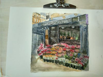 A painting of flower, floristry, plant, flower arranging, marketplace, market, floral design, city