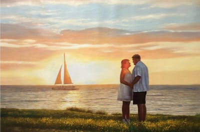 A painting of photograph, horizon, sky, romance, sea, vacation, love, photography, calm, fun