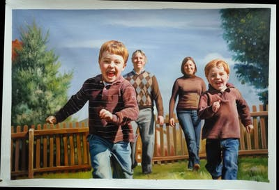 A painting of people, photograph, social group, facial expression, vertebrate, tree, fun, emotion, child, photography