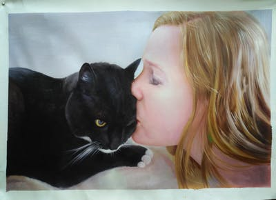 A painting of cat, black, black cat, whiskers, mammal, skin, small to medium sized cats, vertebrate, nose, cat like mammal