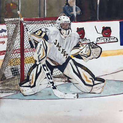 A painting of college ice hockey, ice hockey position, hockey protective equipment, ice hockey, goaltender, protective gear in sports, hockey, player, defenseman, personal protective equipment