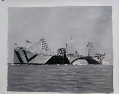 A painting of ship, black and white, watercraft, victory ship, monochrome, monochrome photography, heavy cruiser, troopship, destroyer, freight transport