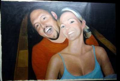 A painting of face, photograph, human hair color, fun, head, lady, girl, snapshot, smile, mouth