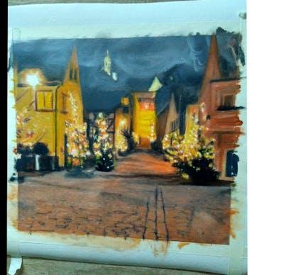 A painting of night, lighting, light, reflection, darkness, christmas, christmas decoration, decor, evening