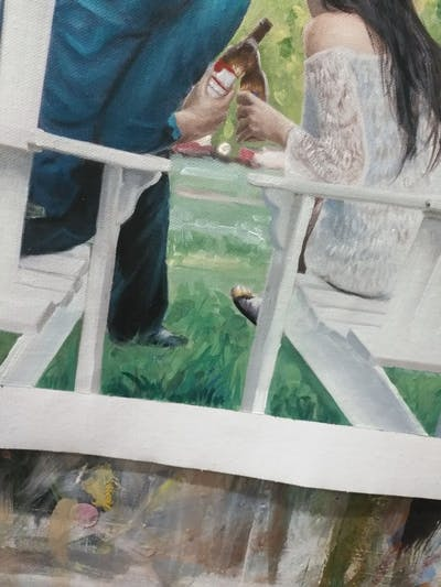 A painting of photograph, sitting, backyard, grass, fun, ceremony, furniture, girl, outdoor structure, event
