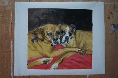 A painting of dog, dog breed, boxer, dog like mammal, vertebrate, dog breed group, snout, carnivoran, dog crossbreeds, valley bulldog