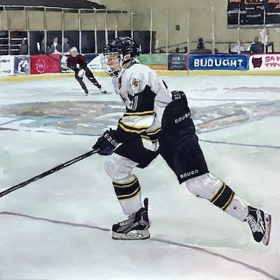 A painting of hockey, ice hockey, college ice hockey, team sport, sport venue, bandy, defenseman, ice rink, ice hockey position, player