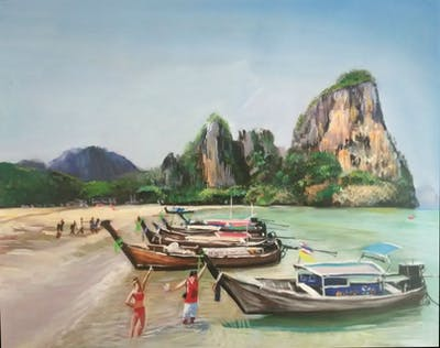 A painting of body of water, water transportation, coastal and oceanic landforms, coast, sea, beach, tourism, promontory, boat, bay