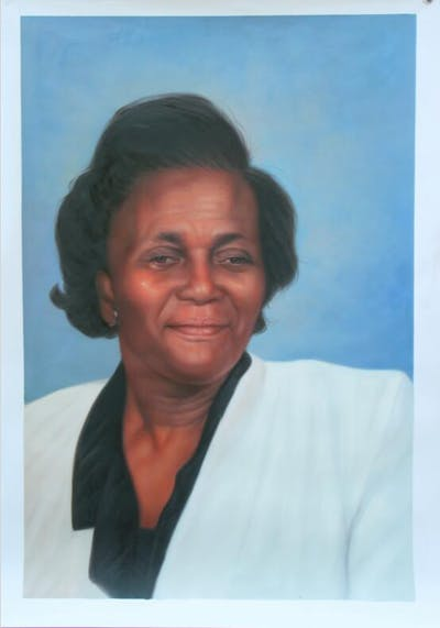 A painting of person, chin, forehead, elder, senior citizen, smile