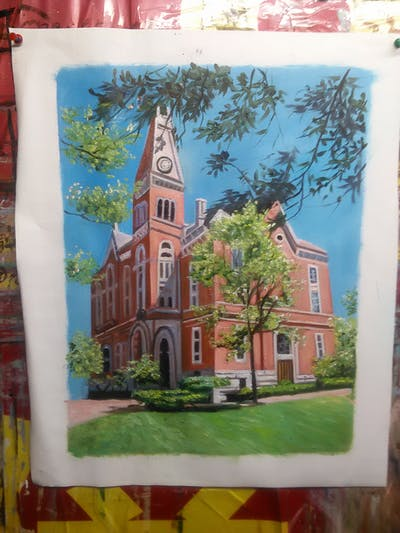 A painting of landmark, estate, home, stately home, mansion, tree, woody plant, building, neighbourhood, house
