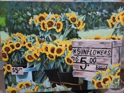 A painting of sunflower, flower, yellow, flowering plant, plant, sunflower seed, floristry, spring, daisy family