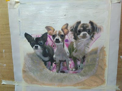A painting of dog, dog like mammal, dog breed, dog breed group, snout, carnivoran, chihuahua, puppy, companion dog, puppy love
