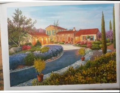 A painting of home, property, sky, residential area, estate, real estate, house, mansion, cottage, evening