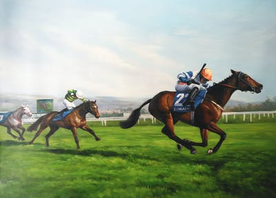 A painting of jockey, horse, horse racing, animal sports, tree, race, grass, horse like mammal, endurance riding, equestrian sport