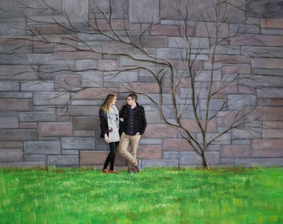 A painting of photograph, wall, photography, tree, girl, grass, plant, rock
