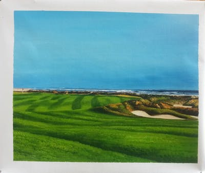 A painting of grassland, golf course, golf club, field, grass, sport venue, pasture, land lot, landscape, sky