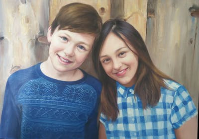 A painting of people, blue, photograph, facial expression, beauty, smile, girl, photography, fun, friendship