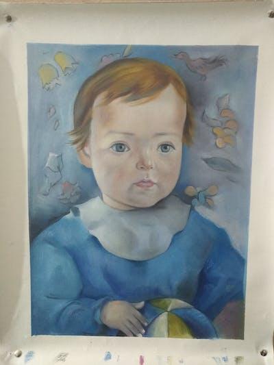 A painting of face, painting, watercolor paint, art, head, portrait, picture frame, paint, child, artwork