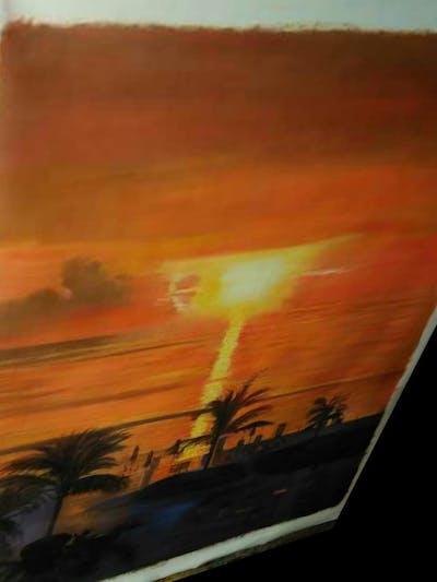 A painting of sunset, sea, sun, sunrise, sky, horizon, afterglow, ocean, morning, calm