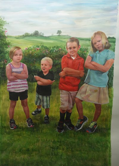 A painting of clothing, footwear, day, child, room, youth, fun, community, standing, play