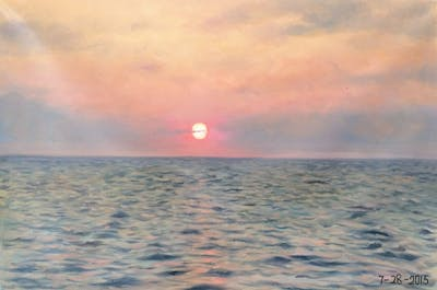 A painting of sea, horizon, sky, ocean, calm, sunset, sunrise, water, sun, morning