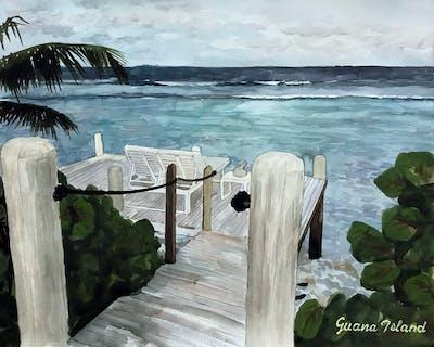 A painting of body of water, sea, ocean, shore, beach, water, coast, walkway, boardwalk, vacation