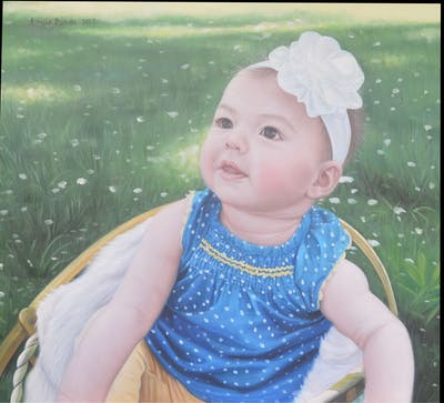 A painting of child, hair accessory, infant, headgear, toddler, girl, flower, eye, smile, headpiece