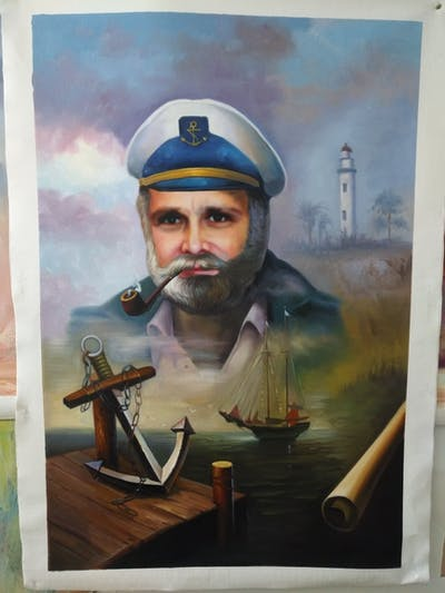 A painting of soldier, military officer, military person, poster, facial hair, military organization, military, sea captain