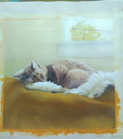 A painting of cat, whiskers, small to medium sized cats, fur, cat like mammal, flooring, nap, bed, kitten, sleep