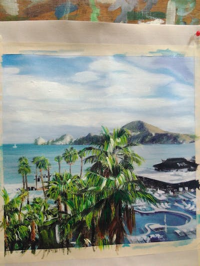 A painting of resort, tourism, sea, caribbean, promontory, tropics, bay, coastal and oceanic landforms, coast, vacation
