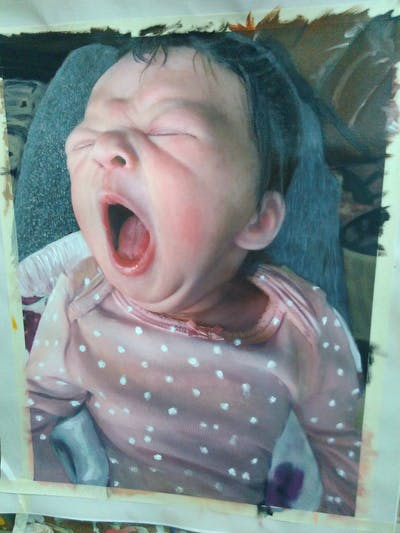 A painting of face, child, pink, facial expression, skin, infant, nose, person, yawn, cheek