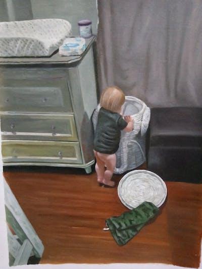A painting of floor, furniture, flooring, sitting, room, wood, standing, hardwood, table, wood flooring